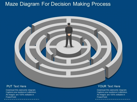 Maze Diagram For Decision Making Process Powerpoint Template