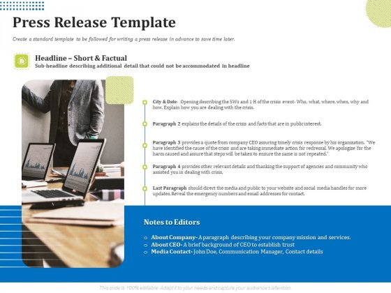Means Of Communication During Disaster Management Press Release Template Ppt Model Styles PDF