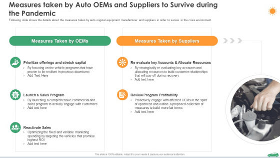 Measures Taken By Auto Oems And Suppliers To Survive During The Pandemic Ppt Pictures Example File PDF