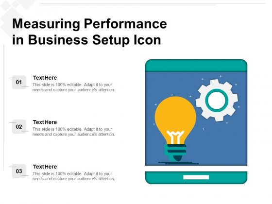 Measuring Performance In Business Setup Icon Ppt PowerPoint Presentation Gallery Example PDF