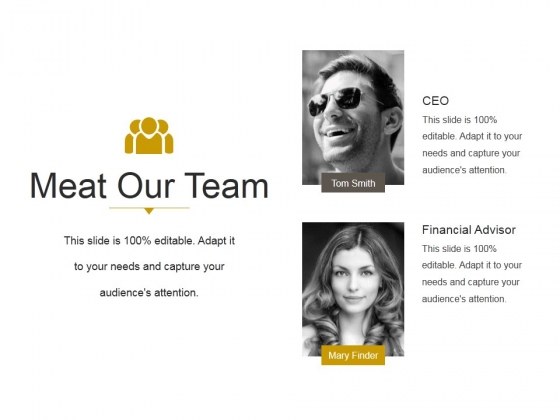 Meat Our Team Ppt PowerPoint Presentation Microsoft
