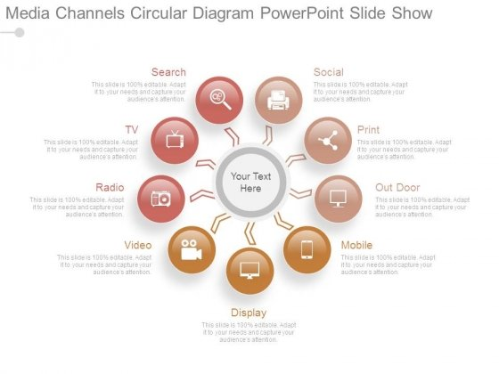 Media Channels Circular Diagram Powerpoint Slide Show