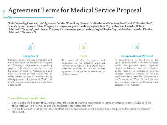 Medical And Healthcare Related Agreement Terms For Medical Service Proposal Ppt Summary Tips PDF
