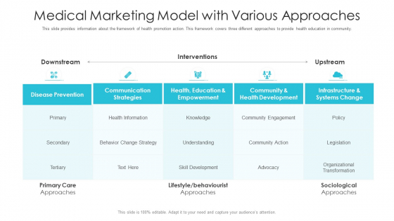 Medical Marketing Model With Various Approaches Ppt Portfolio Graphics Tutorials PDF
