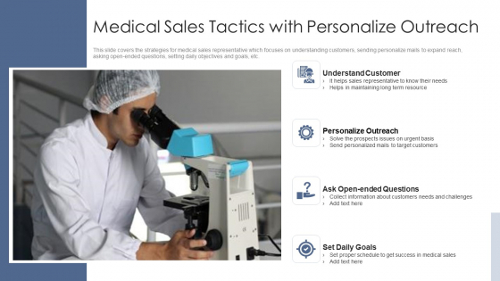 Medical Sales Tactics With Personalize Outreach Ppt Gallery Information PDF