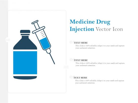 Medicine Drug Injection Vector Icon Ppt PowerPoint Presentation Styles Smartart