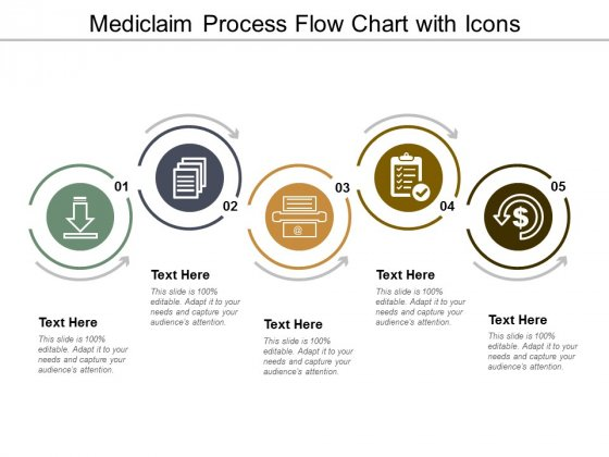 Mediclaim Process Flow Chart With Icons Ppt Powerpoint Presentation Outline Templates