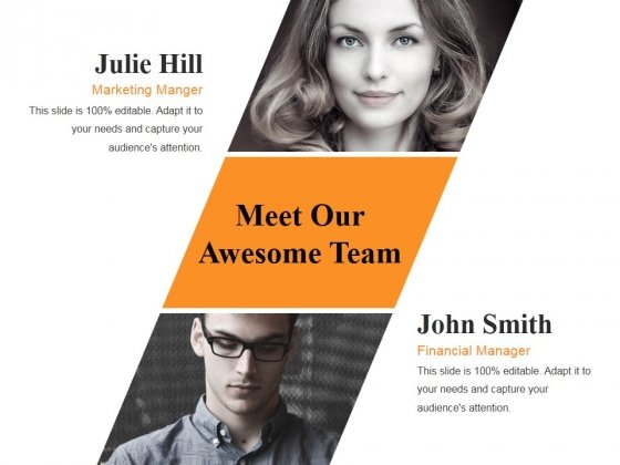 Meet Our Awesome Team Ppt PowerPoint Presentation Show Template