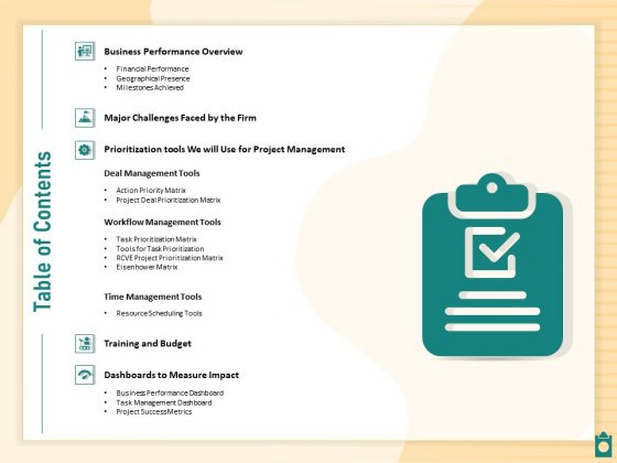 Meet Project Deadlines Through Priority Matrix Table Of Contents Topics PDF