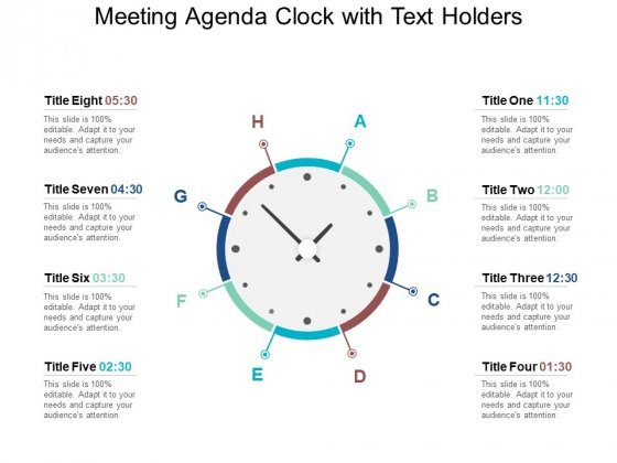 Meeting Agenda Clock With Text Holders Ppt PowerPoint Presentation Professional Example