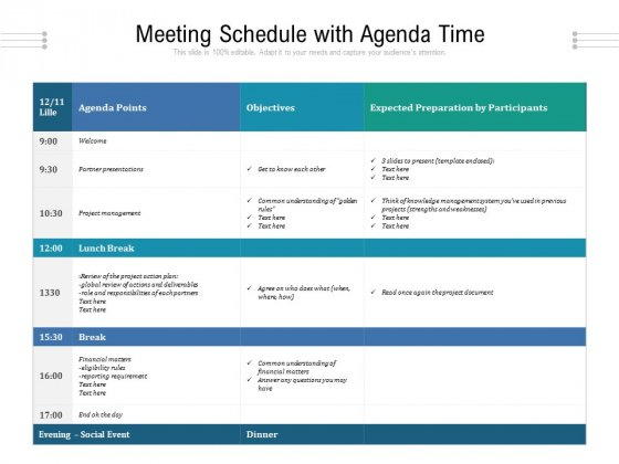 Meeting Schedule With Agenda Time Ppt PowerPoint Presentation Gallery Designs PDF