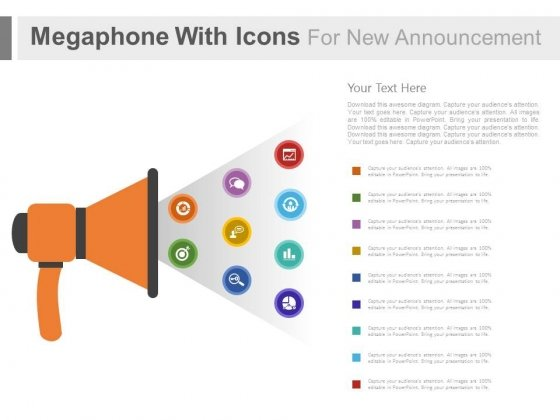 Megaphone With Communication Icons For Announcement Powerpoint Slides