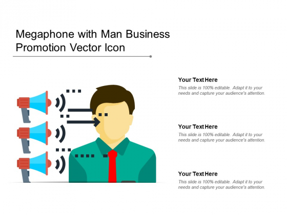 Megaphone With Man Business Promotion Vector Icon Ppt PowerPoint Presentation Styles Images PDF