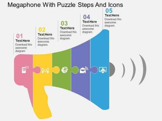 Megaphone With Puzzle Steps And Icons Powerpoint Templates