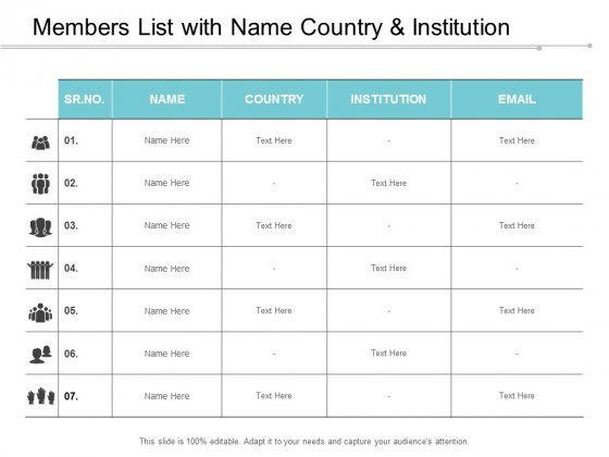 Members List With Name Country And Institution Ppt Powerpoint Presentation Layouts Maker