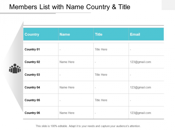 Members List With Name Country And Title Ppt Powerpoint Presentation Ideas Inspiration