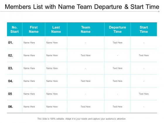 Members List With Name Team Departure And Start Time Ppt Powerpoint Presentation Professional Slide