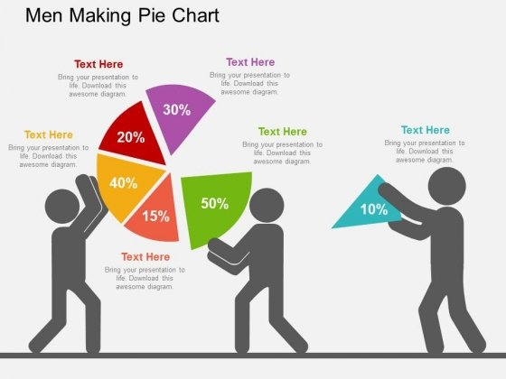 Men Making Pie Chart Powerpoint Templates
