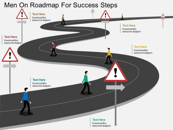 Men On Roadmap For Success Steps Powerpoint Template