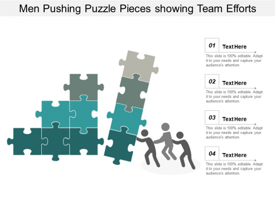Men Pushing Puzzle Pieces Showing Team Efforts Ppt PowerPoint Presentation Inspiration Example Topics