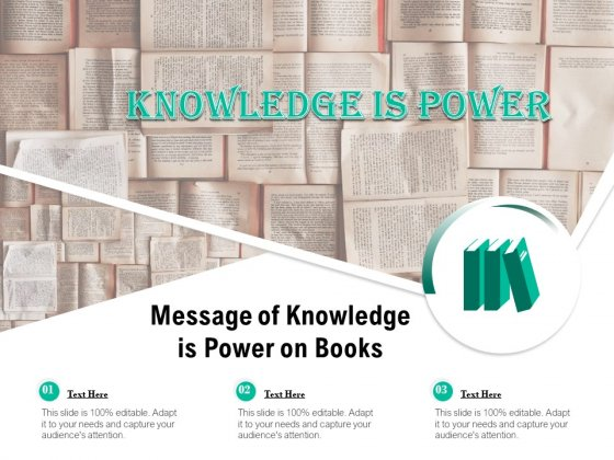 Message Of Knowledge Is Power On Books Ppt PowerPoint Presentation Gallery Themes PDF
