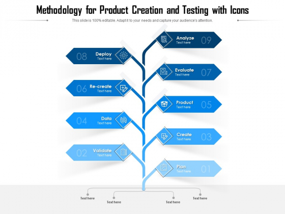 Methodology For Product Creation And Testing With Icons Ppt PowerPoint Presentation File Graphic Images PDF