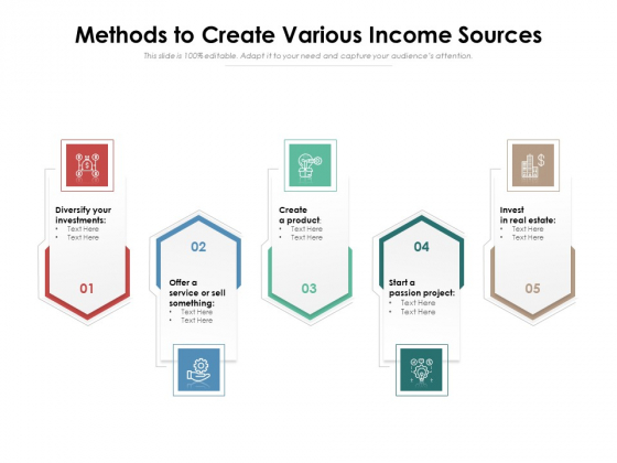 Methods To Create Various Income Sources Ppt PowerPoint Presentation Gallery Introduction PDF