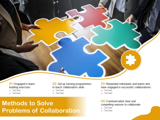 Methods To Solve Problems Of Collaboration Ppt PowerPoint Presentation Gallery Display PDF