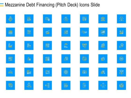 Mezzanine Debt Financing Pitch Deck Icons Slide Clipart PDF