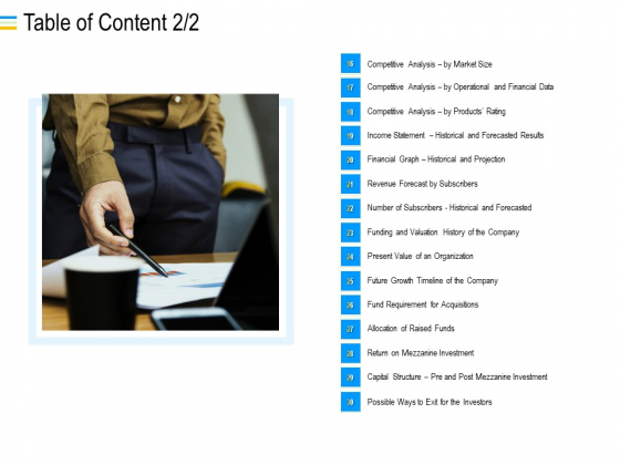 Mezzanine Debt Financing Pitch Deck Table Of Content Analysis Ppt Show Master Slide PDF