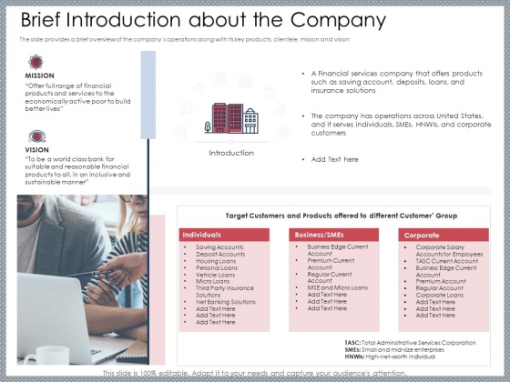 Mezzanine Venture Capital Funding Pitch Deck Brief Introduction About The Company Diagrams PDF