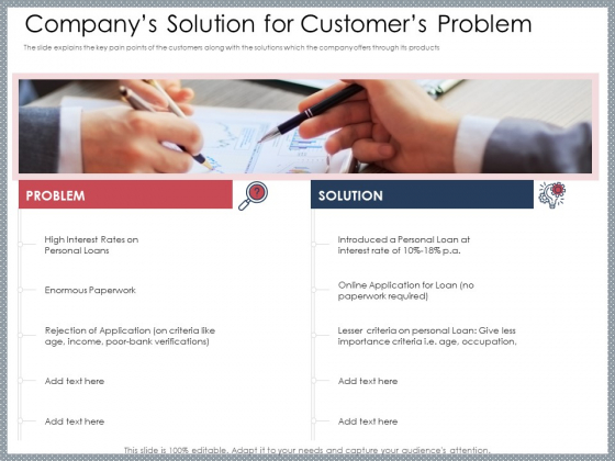 Mezzanine Venture Capital Funding Pitch Deck Companys Solution For Customers Problem Diagrams PDF