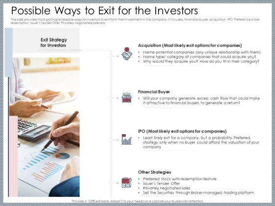 Mezzanine Venture Capital Funding Pitch Deck Possible Ways To Exit For The Investors Inspiration PDF