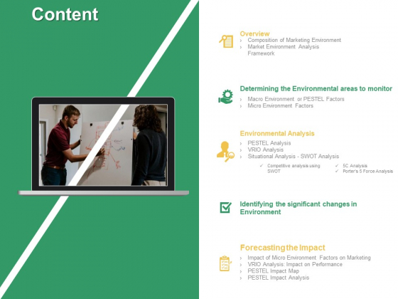 Micro Macro Environment Elements Content Overview Ppt Inspiration Graphics Pictures PDF