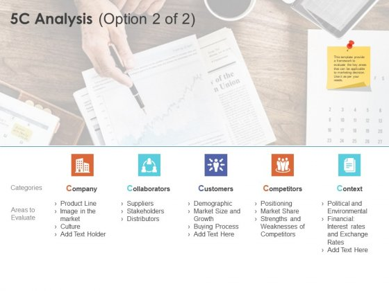 Micro Macro Environment Research 5C Analysis Option Ppt Summary Gridlines PDF