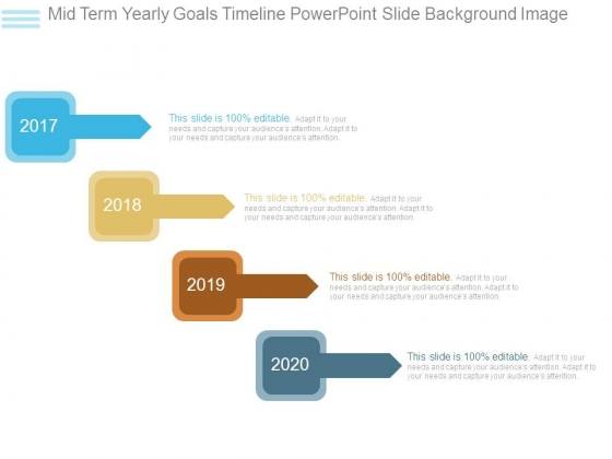 Mid Term Yearly Goals Timeline Powerpoint Slide Background Image