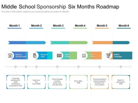 Middle_School_Sponsorship_Six_Months_Roadmap_Icons_Slide_1
