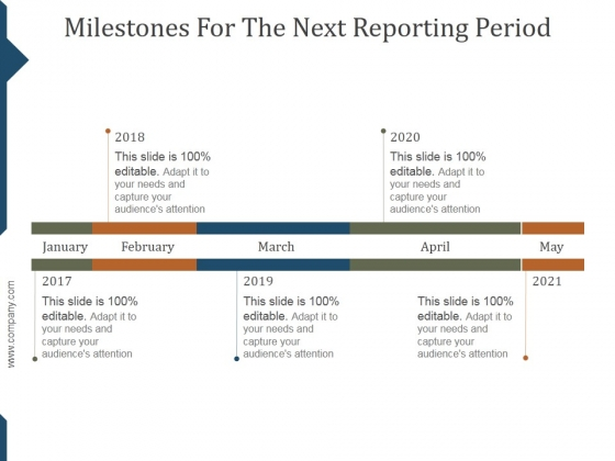 Milestones For The Next Reporting Period Template Ppt PowerPoint Presentation Background Images