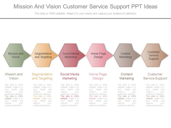 Mission And Vision Customer Service Support Ppt Ideas