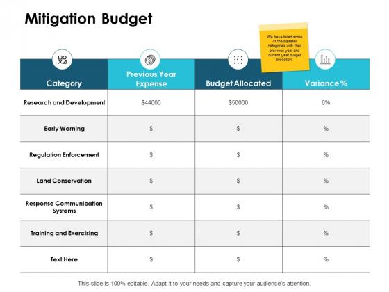 Mitigation Budget Ppt PowerPoint Presentation Portfolio Backgrounds