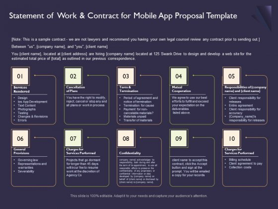 Mobile App Development Statement Of Work And Contract For Proposal Template Guidelines PDF
