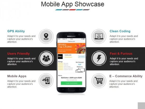 Mobile App Showcase Template 2 Ppt Powerpoint Presentation Styles Brochure Powerpoint Templates