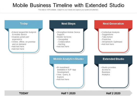 Mobile Business Timeline With Extended Studio Ppt PowerPoint Presentation Gallery Brochure PDF