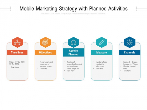 Mobile Marketing Strategy With Planned Activities Ppt PowerPoint Presentation Gallery Files PDF
