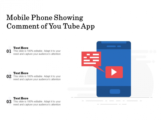 Mobile Phone Showing Comment Of You Tube App Ppt PowerPoint Presentation Professional Aids PDF