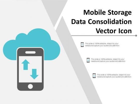Mobile Storage Data Consolidation Vector Icon Ppt Powerpoint Presentation Visual Aids Diagrams