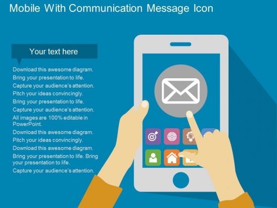 Mobile With Communication Message Icon Powerpoint Template