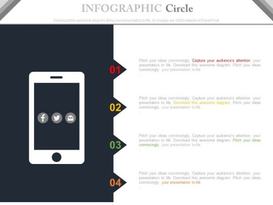 Mobile With Four Tags And Social Media Icons Powerpoint Slides