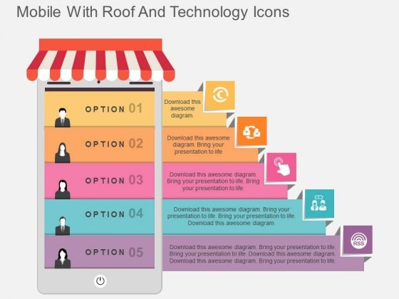 Mobile With Roof And Technology Icons Powerpoint Template