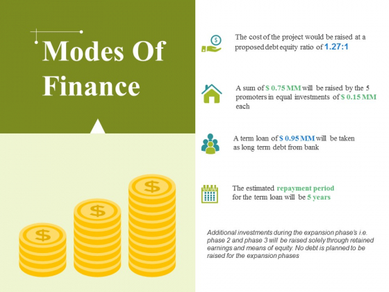 Modes Of Finance Ppt PowerPoint Presentation Show Influencers
